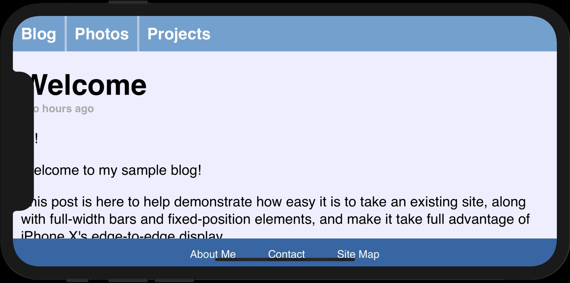 Використовуйте `viewport-fit = cover`, щоб заповнити весь екран.