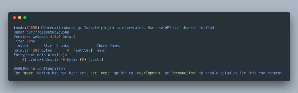 Опція 'mode' (режим) була задана. Увімкніть режим в 'development' або 'production', щоб застосувати настройки за замовчуванням.